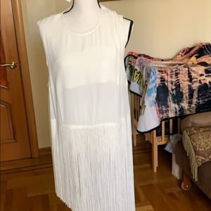 H&M off white ivory long top with Fringes Sz 14